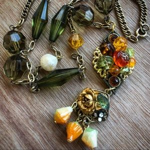 Vintage Assemblage Bohemian Green Necklace